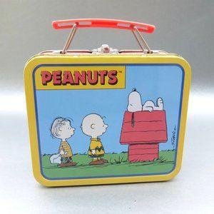 Vintage 90s Snoopy Metal Lunch Box Tin Pail Peanut